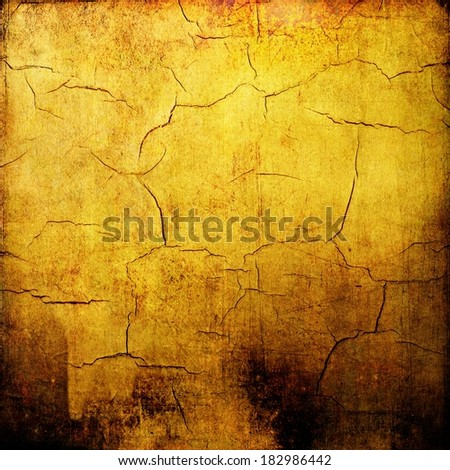 Vintage yellow cracked texture background - stock photo
