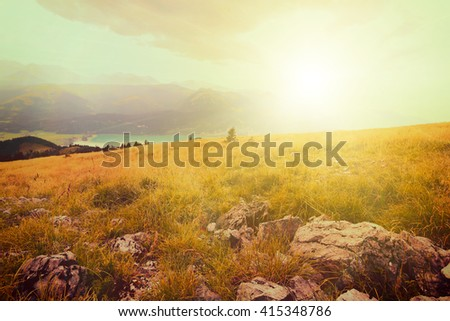 vintge backgrounds panorama mountains in Austria in Alps - stock photo