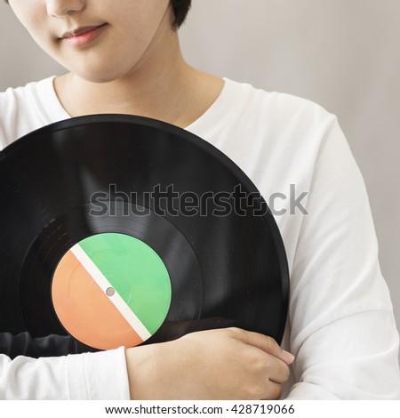 Vinyl Analog Audio Classic Record Spin Vintage Concept - stock photo