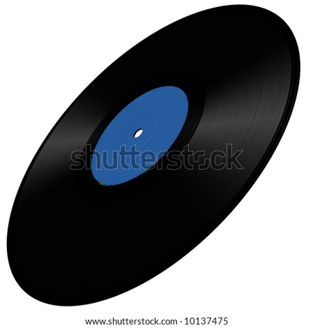 Vinyl disc illustration in perspective, blue - stock photo