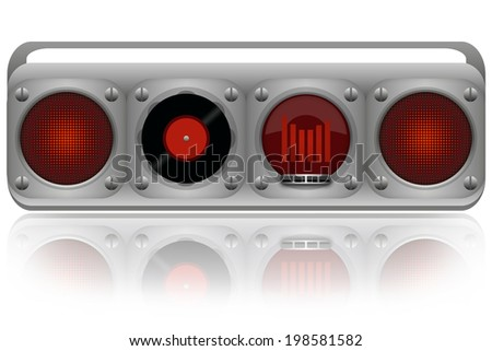 Vinyl disc player boombox isolated on white background