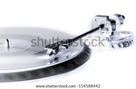 vinyl laying on a record player - nightclubbing, dj etc. - x-ray style - stock photo