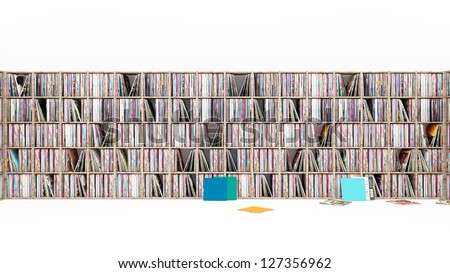 Vinyl LP Rack on white 3D - stock photo