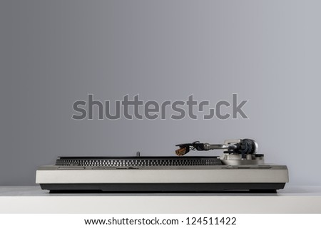 Vinyl player detail with copy space. - stock photo
