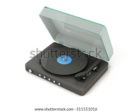Vinyl player isolated on white background. 3d illustration. - stock photo