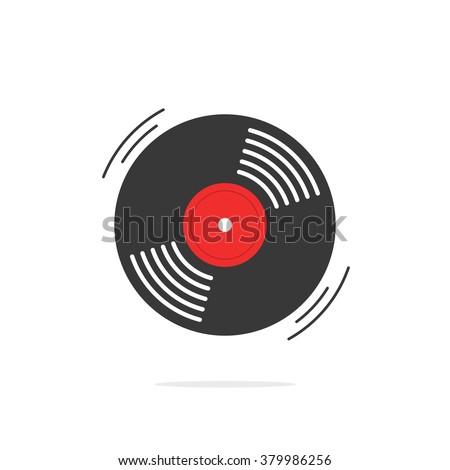 Vinyl record icon, gramophone record symbol, rotating record vinyl disc, flat vinyl lp, cartoon vinyl record label, cover emblem modern simple illustration design isolated on white image - stock photo