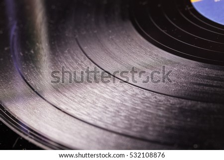Vinyl record in close up, horizontal image