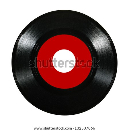 Vinyl record isolated on white background - stock photo