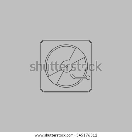 Vinyl record player. Flat outline icon on grey background