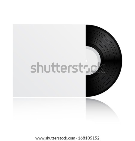 Vinyl record with blank cover isolated on white background (raster illustration) - stock photo