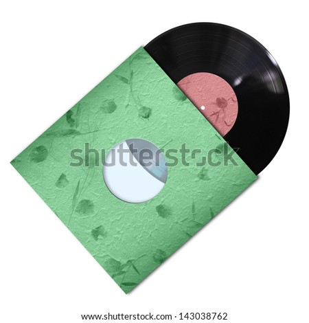 vinyl record with color handmade paper cover on white background - stock photo