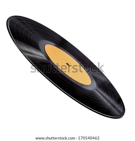 Vinyl record with yellow label isolated over white - stock photo