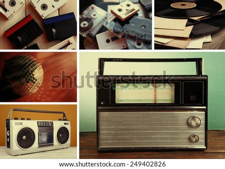 Vinyl records, audio cassettes, microphone, tape recorder and radio set in collage - stock photo