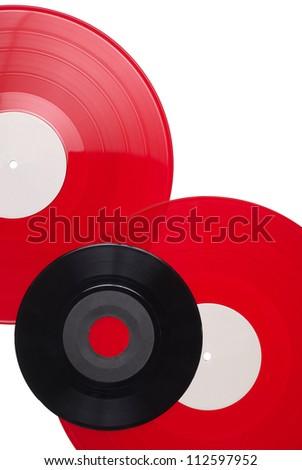 Vinyl records isolated on white - stock photo