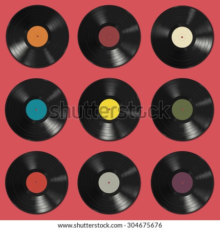 Vinyl records with colorful labels on red background. Seamless pattern. Raster version - stock photo