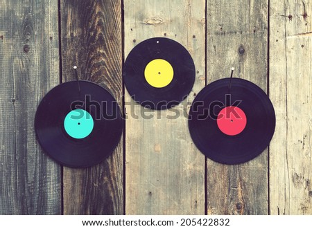 Vinyls with old boards vintage - stock photo