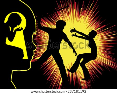 Violence and Trauma. Boy with traumatic experience through hidden watching his father beating up his mother - stock photo