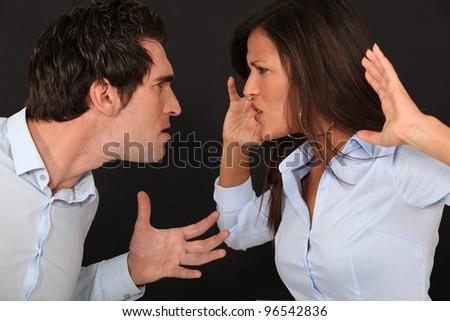 violent couple dispute - stock photo