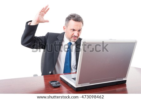 Violent lawyer rising palm up as threatening concept isolated on white studio background