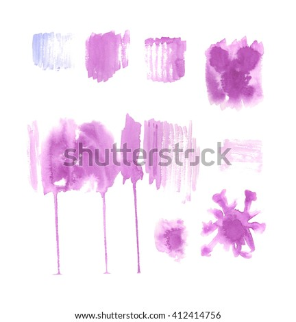 Violet abstract hand painted watercolor stains, abstract watercolor elements - stock photo