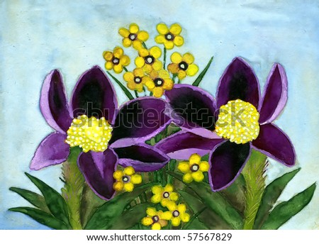Violet yellow flowers gouache on paper stock illustration 57567829 violet and yellow flowers gouache on a paper handwork mightylinksfo