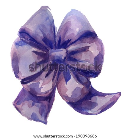 Violet bow on white background - stock photo