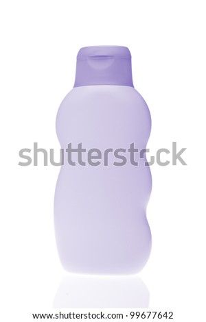 violet cosmetic bottle isolated on white background