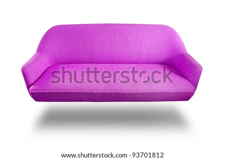 Violet fabric sofa isolated and shadow on white background with clipping path - stock photo
