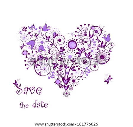 Violet floral heart - stock photo