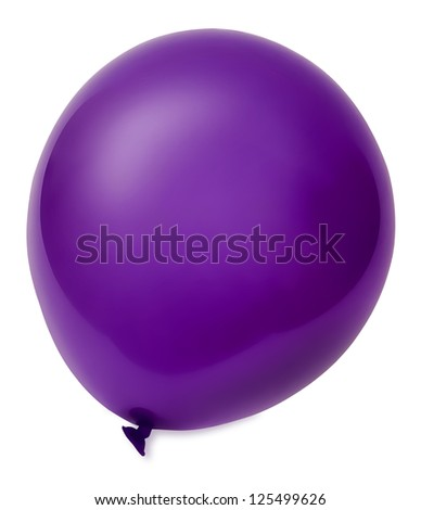 Violet flying balloon isolated on white background. With clipping path. - stock photo