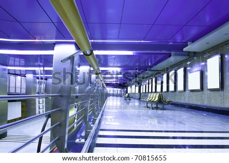 violet hall with white placards - stock photo