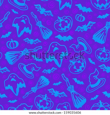 Violet Halloween cartoon symbols seamless pattern