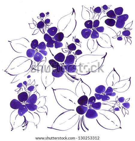 Violet ink drawing - stock photo