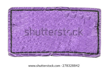 violet leather label isolated on white - stock photo
