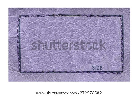 violet leather label on white background, frame - stock photo