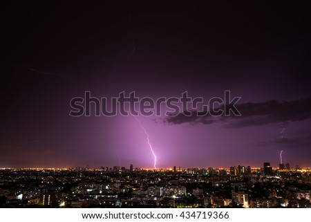 Violet Lightnings over city during thunderstorm in the night with cloud