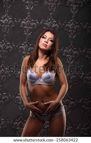 violet Lingerie model posing in the studio, vintage background sexy - stock photo