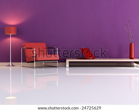 Violet living room with armchair and laptop