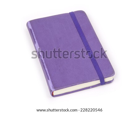 Violet notebook isolated on white background.