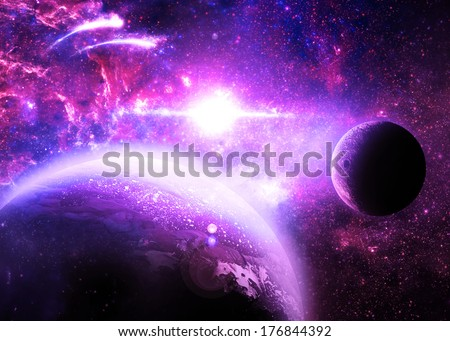 Violet Planet and Moon Over a glowing Star - Elements of this image furnished by NASA - stock photo