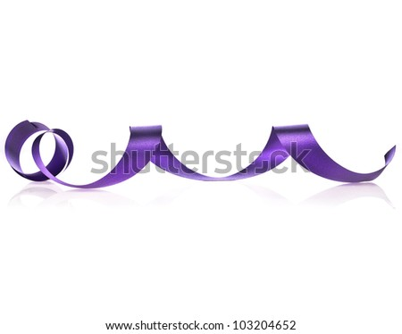 violet ribbon streamer tape scroll  isolated on white background - stock photo