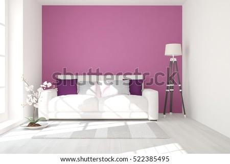 Violet Room Sofa Scandinavian Interior Design Stock Illustration ...