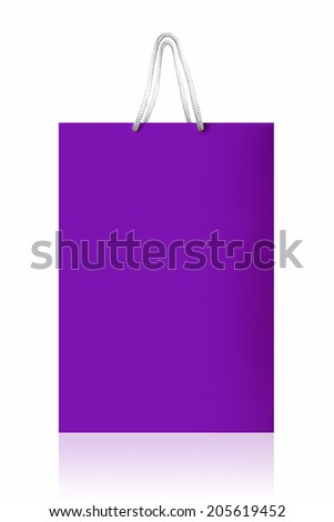 Violet shopping bag, isolated with clipping path on white background. Violet shopping bag with reflect and copy space.