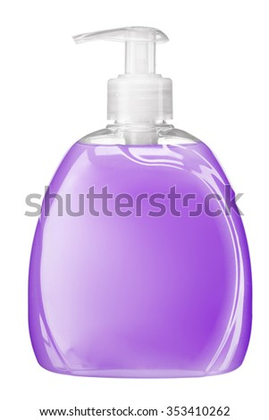Violet soft soap bottle with pump / studio photography of transparent bottle with violet liquid - isolated on white background - stock photo