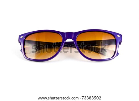Violet sunglasses isolated on white - stock photo