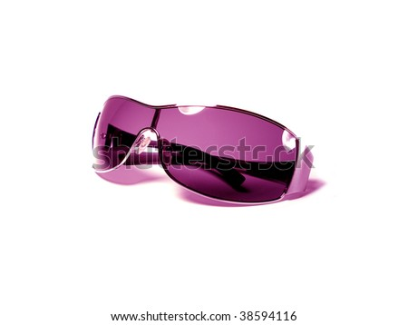 Violet sunglasses isolated on white background - stock photo