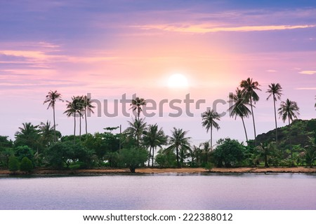 Violet sunset over remote tropical sand beach in Thailand Ko Chang island - stock photo
