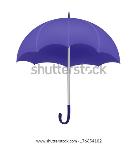 Violet umbrella isolated on white background. Raster version