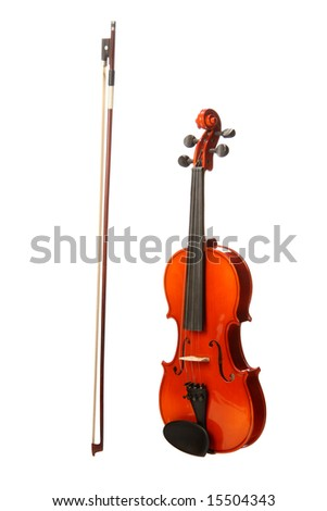 Violin and Bow, isolated on white - stock photo
