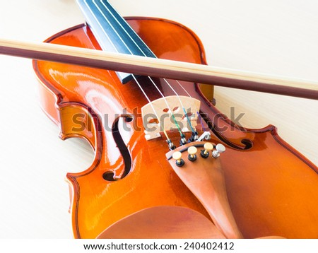 Violin and Bow - on the table